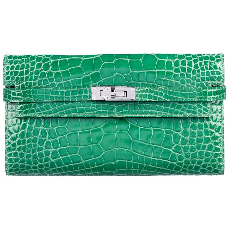 Hermes Green Alligator Palladium Evening Kelly Clutch Wallet Bag For Sale