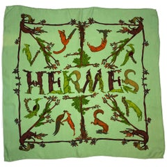 "Hermes Green Alphabet III Silk 26"" Square Scarf"
