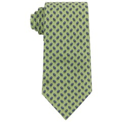 HERMES Green Blue Chaine D'ancre Pattern 5 Fold Silk Necktie Tie 7957 EA