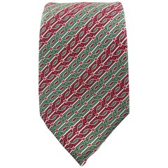 HERMES Green & Burgundy Gray Striped Pattern Silk Tie 974 SA