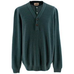 Hermes Green Cashmere Knit Double Collar Sweater - Size 3XL