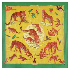 HERMES green chartreuse TENDRESSE FELINE 140 cashmere silk Shawl Scarf
