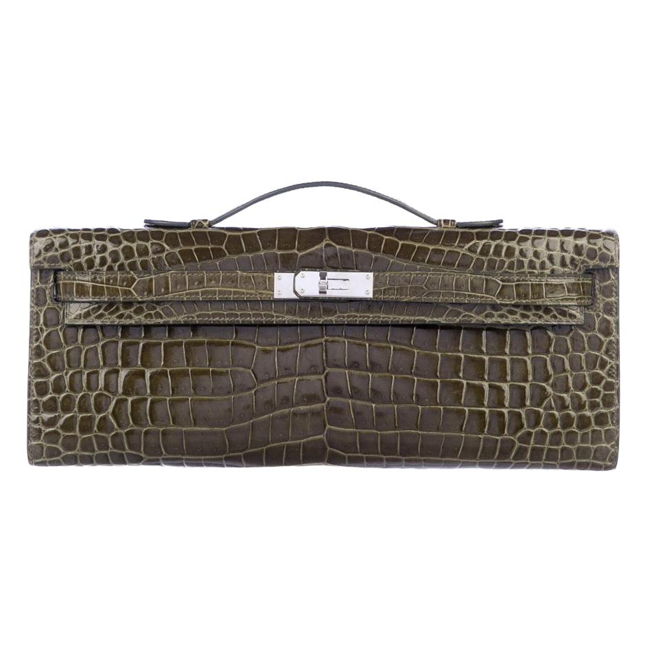 Hermes Green Crocodile Exotic Leather Kelly Evening Top Handle Clutch Bag in Box
