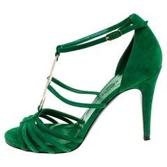Hermes Green Crystal Embellished Suede T Strap Open Toe Sandals Size 38.5