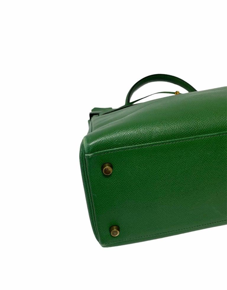 Women's Hermès Green Epsom Kelly 35 Bag  For Sale