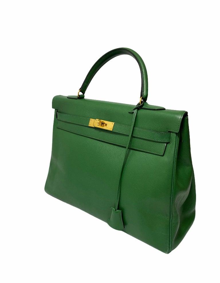 Hermès Green Epsom Kelly 35 Bag  For Sale 3