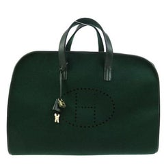 Hermes Green Felt Brown Leather Carryall Top Handle Satchel Travel Tote Bag II