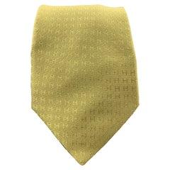 HERMES Green H Print Silk Tie