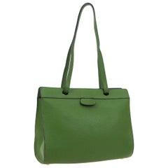 Hermes Green Leather Carryall Travel Large Shopper Shoulder Tote Bag