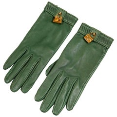 Hermès Green Leather Gloves with Bag Charms size 6.5