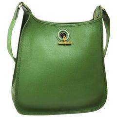 Hermes Green Leather Gold Carryall Men's Women's Shoulder Crossbody Bag