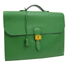 Hermes Green Leather Gold Top Handle Satchel Men's Travel Briefcase Bag in Box
