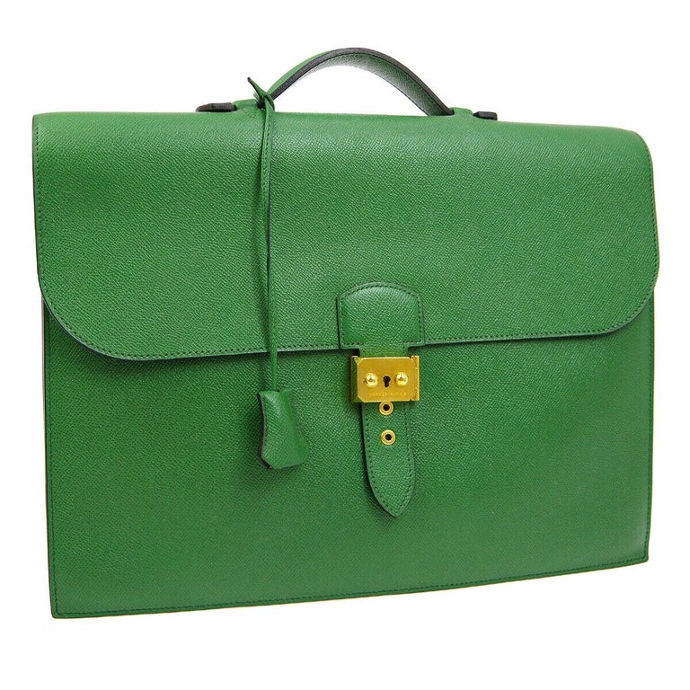 Hermes Green Leather Gold Top Handle Satchel Men's Travel Briefcase Bag in Box For Sale