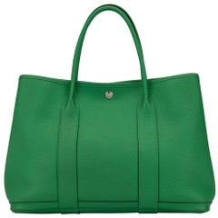 Hermes Green Leather Large Carryall Travel Garden Top Handle Satchel Tote Bag