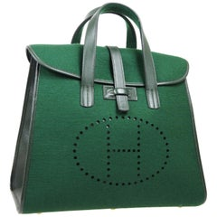 Hermes Green Leather Men's Women's Carryall Top Handle Satchel Travel Tote Bag