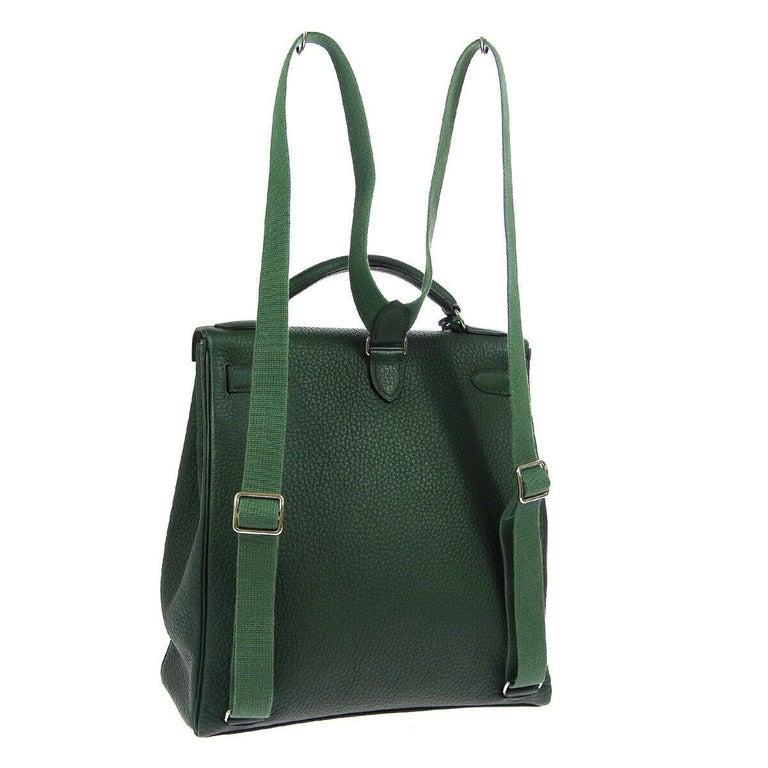 Black Hermes Green Leather Palladium Men's Women's Travel Backpack Shoulder Bag