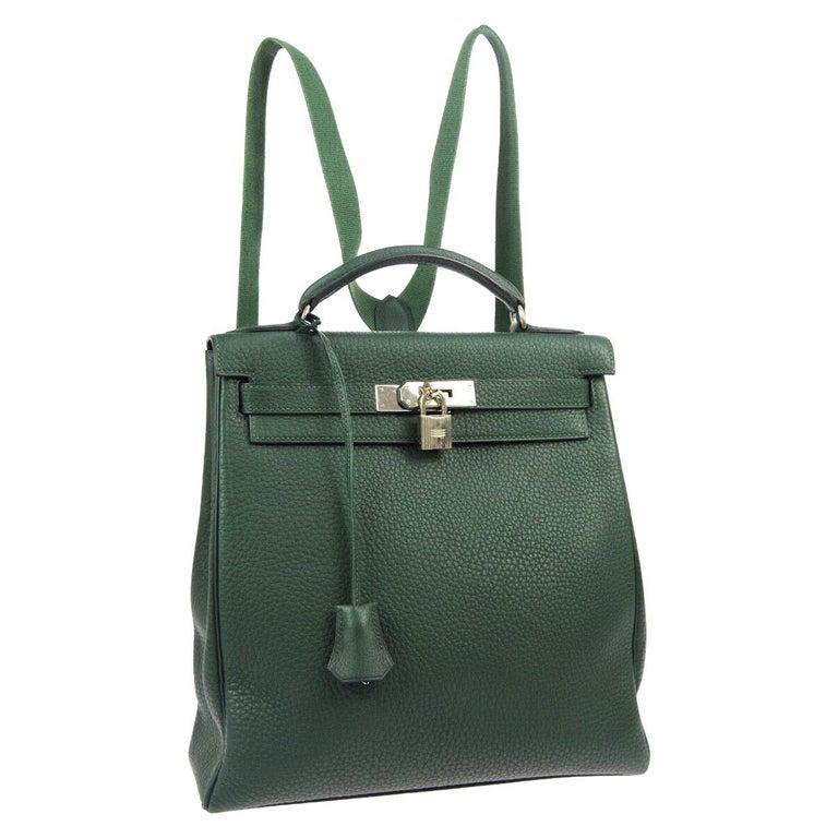 Hermes Green Leather Palladium Men's Women's Travel Backpack Shoulder Bag