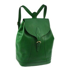 Hermes Green Leather Top Handle Men's Women's Carryall Travel Backpack