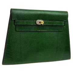 Hermes Green Lizard Exotic Gold Small Envelope Evening Clutch Flap Bag in Box