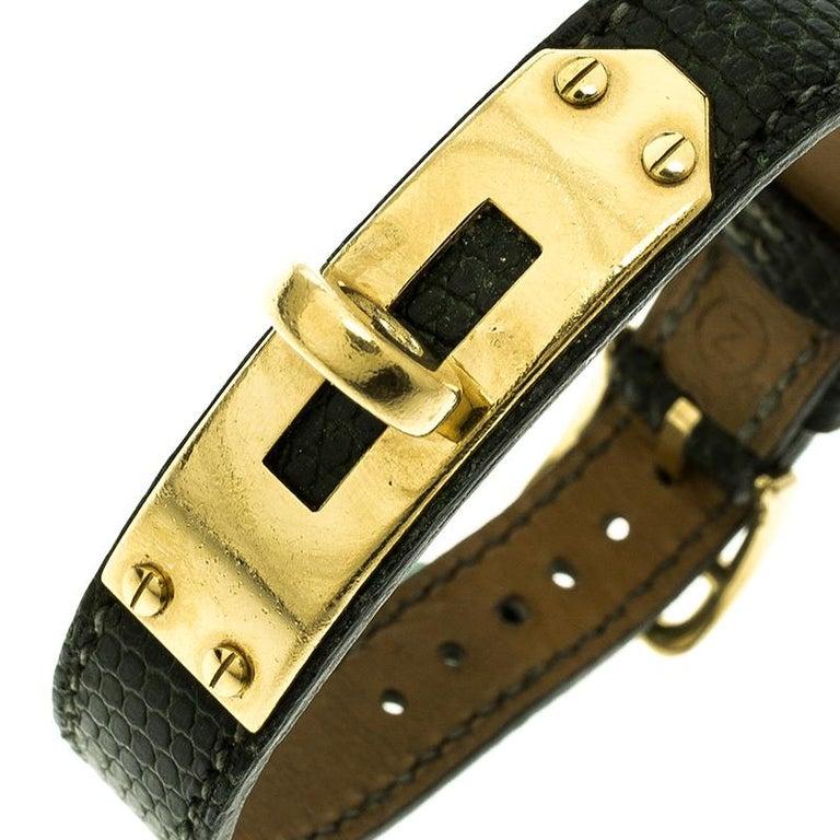 Contemporary Hermes Green Lizard Skin Gold Plated Kelly Wristwatch Bracelet For Sale