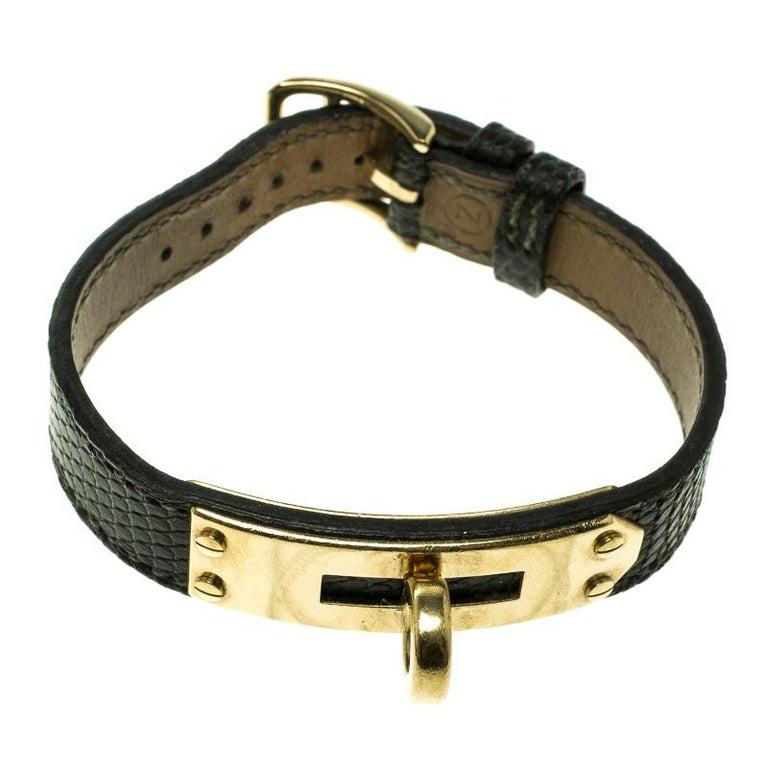 Women's Hermes Green Lizard Skin Gold Plated Kelly Wristwatch Bracelet For Sale
