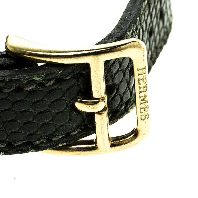 Hermes Green Lizard Skin Gold Plated Kelly Wristwatch Bracelet For Sale 1