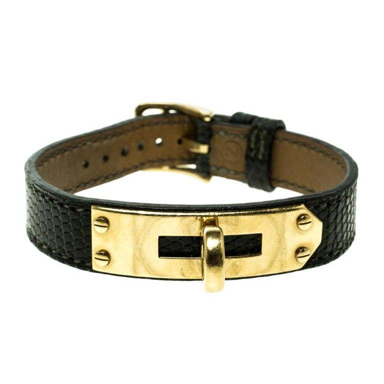 Hermes Green Lizard Skin Gold Plated Kelly Wristwatch Bracelet For Sale