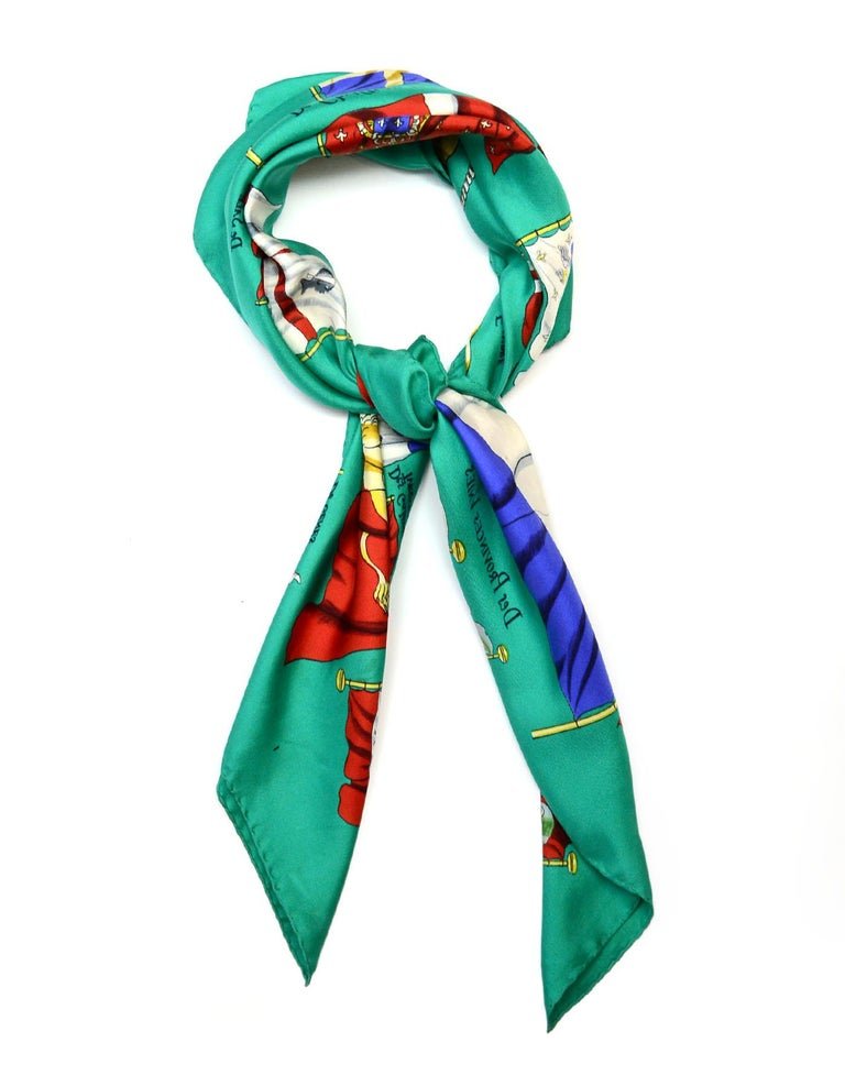 Hermes Green Pavois Flag Print Silk Scarf 90 cm  Made In: France Color: Green and pattern Materials: 100% silk Overall Condition: Good pre-owned condition with exception of staining throughout and pulls Estimated Retail: $395 + tax  Measurements: