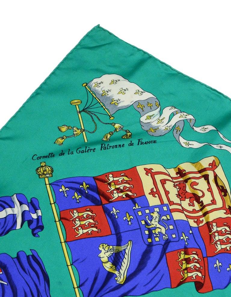 Hermes Green Pavois Flag Print Silk Scarf 90 cm For Sale 2