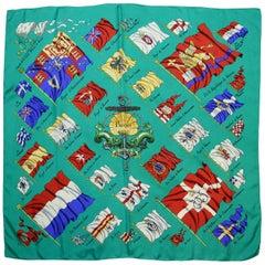Hermes Green Pavois Flag Print Silk Scarf 90 cm