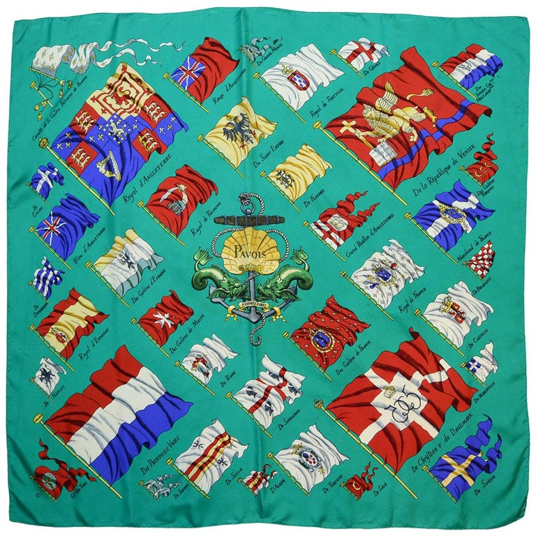 Hermes Green Pavois Flag Print Silk Scarf 90 cm For Sale