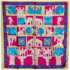 Hermes green pink TORANA 90 silk twill Scarf