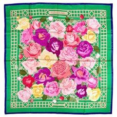 Hermès Green Pinks Blue ROSERAIE 90 cm Silk Scarf Christiane Vauzelles 1990
