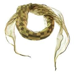 Hermes Green Radial Block H Print Silk Chiffon Losange Scarf