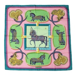 Hermes Green, Rose & Pistache Grand Apparat Silk Scarf Created by Jacques Eudel