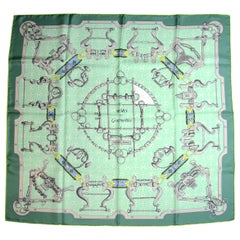 "Hermes Green/Turquoise ""Mors et Gourmettes"" 90cm Silk Scarf by Henri d'Origny"