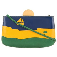 Hermes Green Yellow Blue Leather Boat 2 in 1 Clutch Evening Shoulder Bag