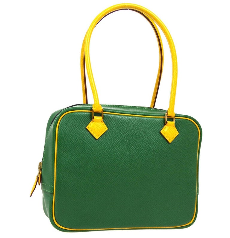 Blue Hermes Green Yellow Leather Gold Evening Top Handle Satchel Bag For Sale