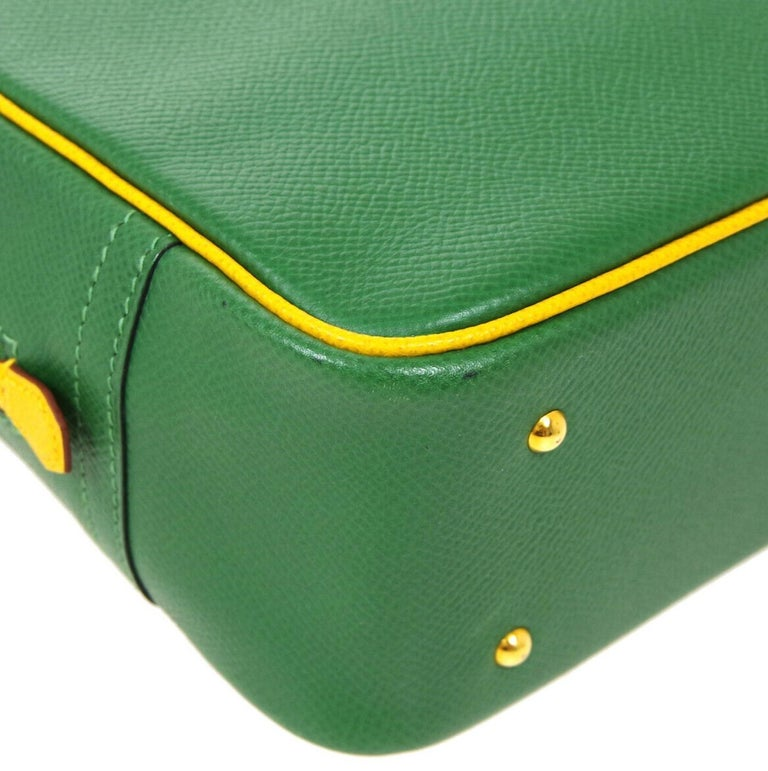 Women's Hermes Green Yellow Leather Gold Evening Top Handle Satchel Bag For Sale