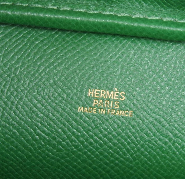 Hermes Green Yellow Leather Gold Evening Top Handle Satchel Bag For Sale 2