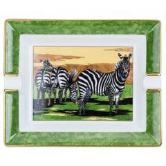Hermes Green Zebra Porcelain Ashtray