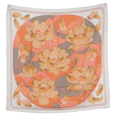 Hermes Grey and Beige Fleurs de Lotus by Christiane Vauzelle Silk Scarf