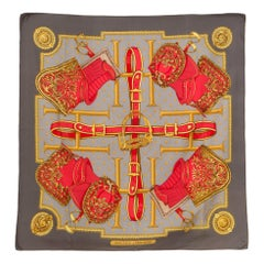 Hermes Grey and Red Silk Scarf Selles A Housses