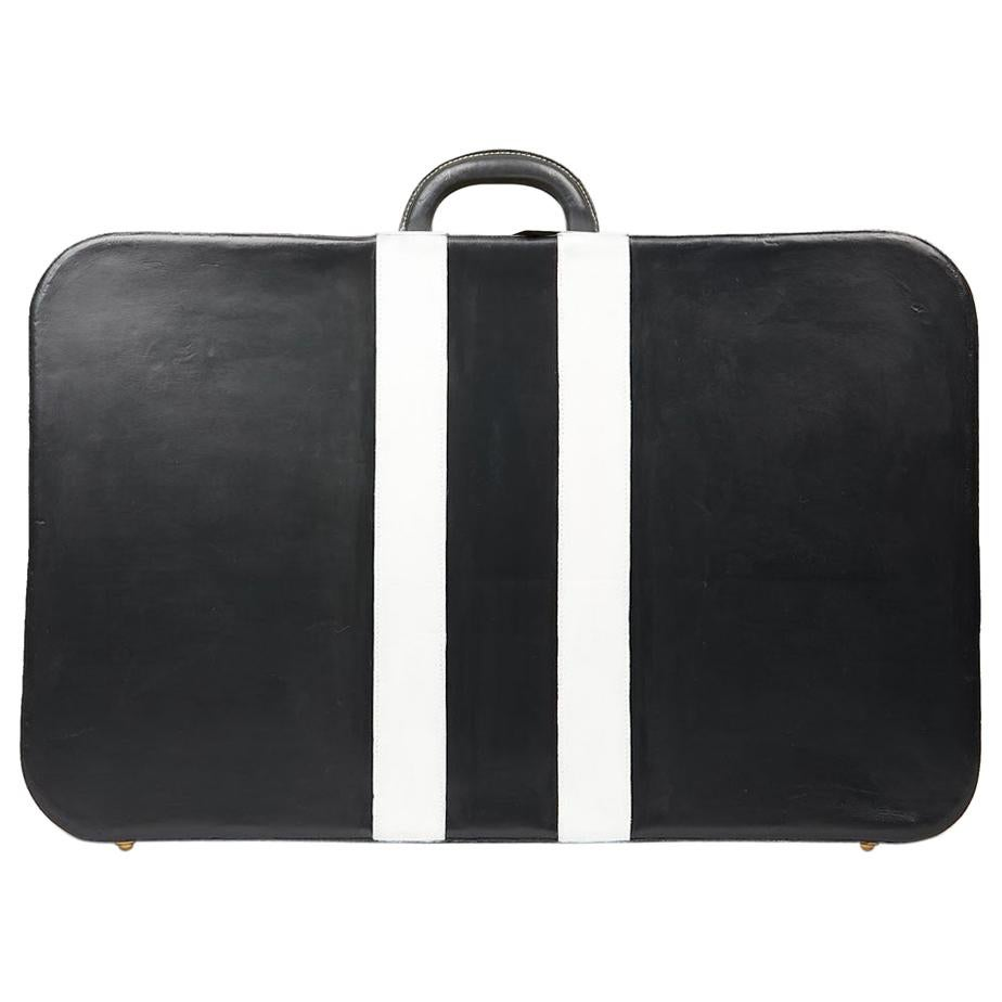Hermes Grey and White Leather Vintage Travel Luggage