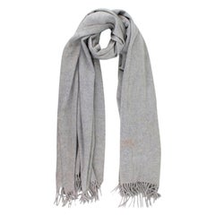 Hermes Grey Cashmere Embroidered Logo Stole