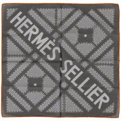 Hermès Grey Geometric Cotton Pochette