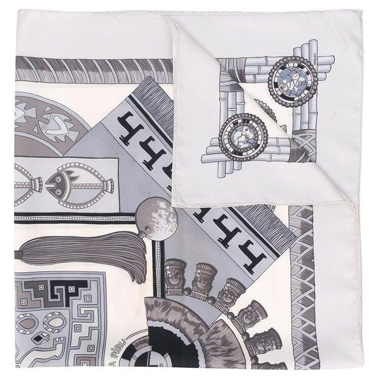 Hermès Grey Geometric Print Scarf For Sale