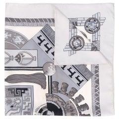 Hermès Grey Geometric Print Scarf