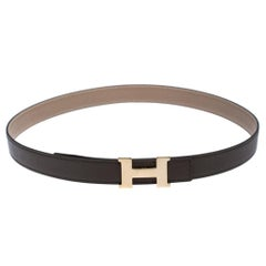 Hermes Grey Leather H Logo Constance Reversible Belt 85 CM