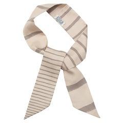 Hermes Grey & Multicolor Silk Striped Twilly Scarf